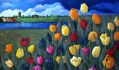 Dutch Tulips With Landscape Print by Joyce Geleynse