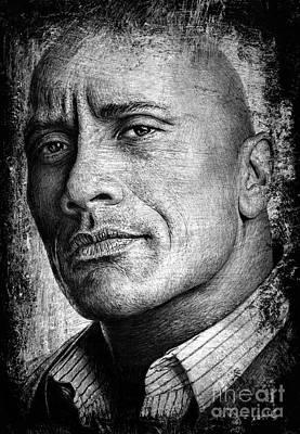 Muscle Men Drawing - Dwayne Johnson by Andrew Read