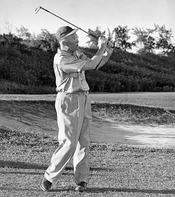 Dwight Eisenhower Golfing Print by Underwood Archives