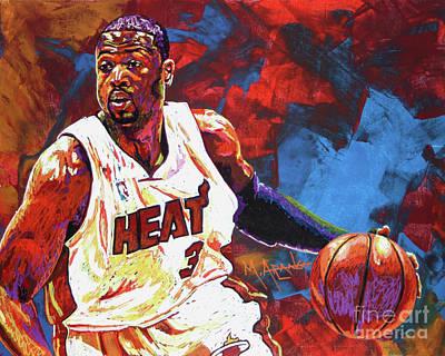 Miami Heat Painting - Dwyane Wade 2 by Maria Arango