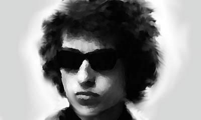 Rolling Stones Painting - Dylan Black N White  by Enki Art