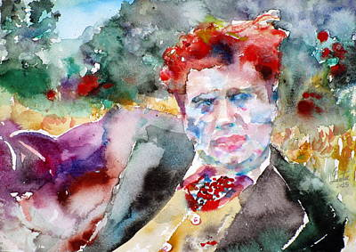 Dylan Thomas - Watercolor Portrait.3 Original by Fabrizio Cassetta