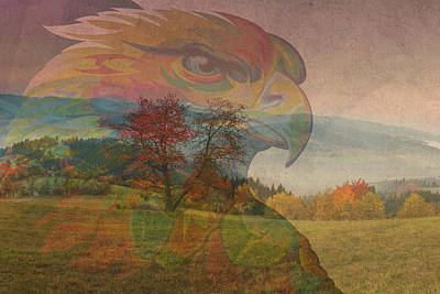 Eagle Art Over Gorgeous American Countryside Imagery Print by Design Turnpike