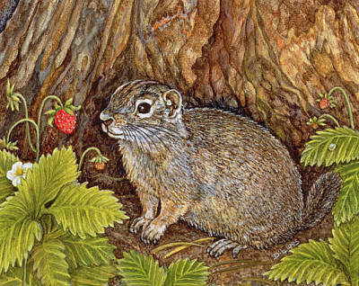 Strawberry Painting - Eagle Creek Wild Strawberry Ground Squirrel by Ditz