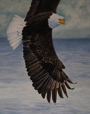 American Eagle Painting - Eagle - Low Pass Turn by Roena King