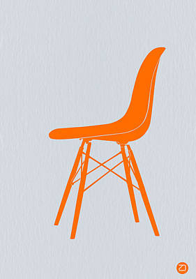 Old Digital Art - Eames Fiberglass Chair Orange by Naxart Studio