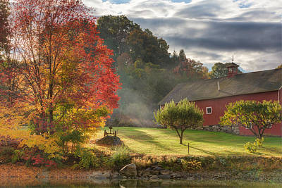 Red Barn. New England Photograph - Early Autumn Morning by Bill Wakeley
