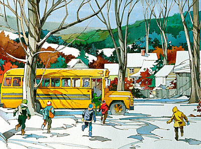School Bus Painting - Early Bus by Art Scholz