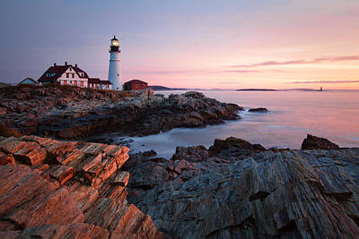 Early Dawn At Portland Head Lighthouse Print by Eric Gendron