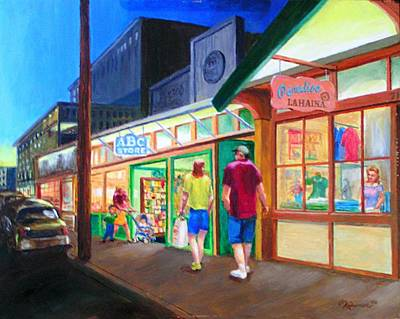 Store Fronts Painting - Early Evening Shoppers by Bob Newman