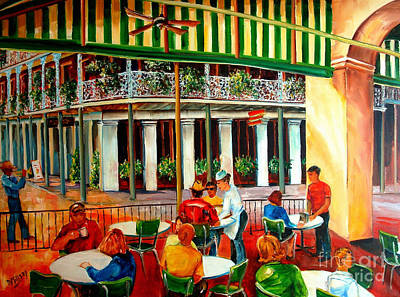 Corner Cafe Painting - Early Morning At The Cafe Du Monde by Diane Millsap