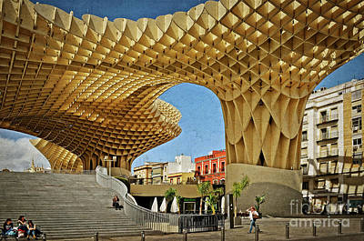 Early Morning At The Plaza Encarnacion - Seville Print by Mary Machare