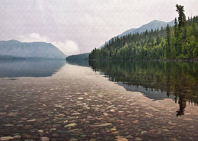 Early Morning On Lake Mcdonald II Print by Sharon Foster