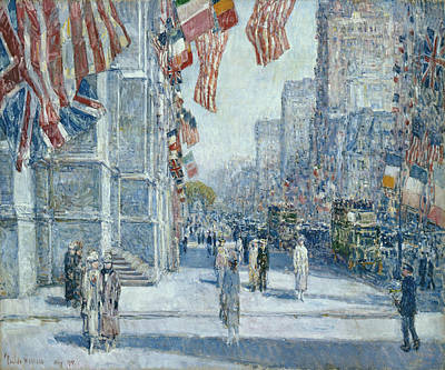 Childe Hassam Painting - Early Morning On The Avenue In May 1917 by Childe Hassam