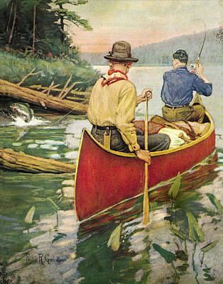 Canoe Painting - Early Morning Thrill by JQ Licensing