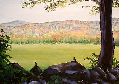 Maine Mountains Painting - Early Morning Walk by Carole Rickards