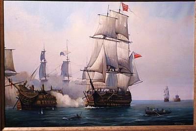 Early Painting Of The Battle Of Trafalgar. Print by Mike Jeffries