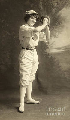 Early Portrait Of A Woman Baseball Player Print by American School