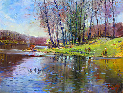 Lake Painting - Early Spring In Bear Mountain by Ylli Haruni