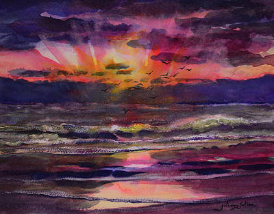 Painting - Early Sunrise Birds by Julianne Felton