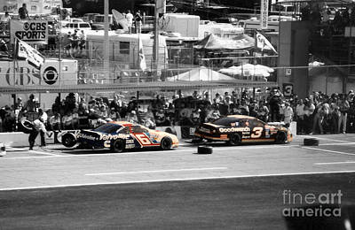 Earnhardt And Martin In The Pits Print by John Black