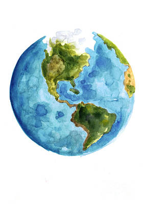 World Mixed Media - Earth America Watercolor Poster by Joanna Szmerdt
