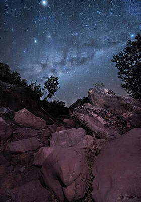 Earth Among The Stars Print by Santiago Rolon