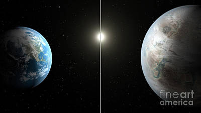 Terra Firma Photograph - Earth And Exoplanet Kepler-452b by Science Source