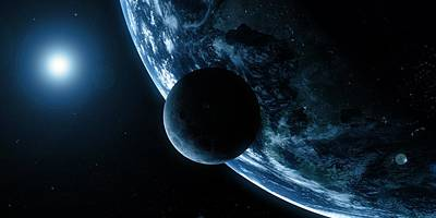 Earth And Moon, Artwork Print by Sciepro