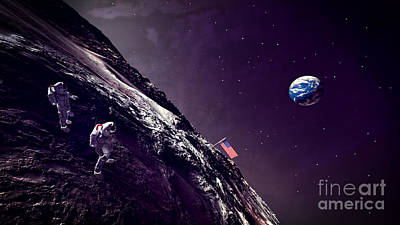 Astronauts Digital Art - Earth Rise On The Moon by Methune Hively