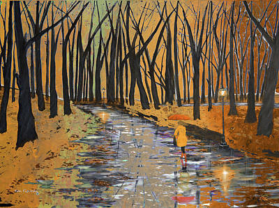Abstract Painting - Earth Tones In The Park by Ken Figurski