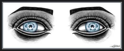 Eye Lashes Drawing - Earthy Eyes by Michael Spatola