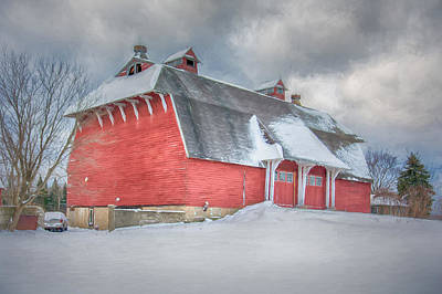 East Aurora Barn In Snow  Print by Guy Whiteley