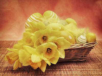 Daffodils Photograph - Easter Basket by Wim Lanclus