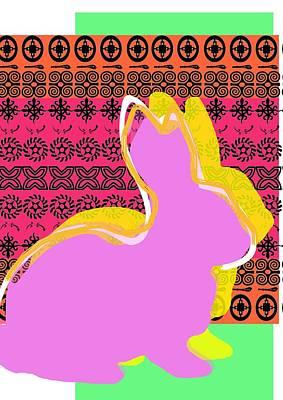 Rabbit Digital Art - Easter Greetings by Francois Domain