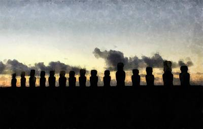Lord Buddha Painting - Easter Island by Sarah Kirk