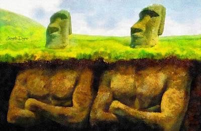 Megalith Digital Art - Easter Island Truth - Da by Leonardo Digenio