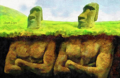 Megalith Painting - Easter Island Truth by Leonardo Digenio