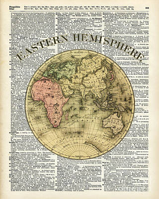 Eastern Hemisphere Earth Map Over Dictionary Page Print by Jacob Kuch