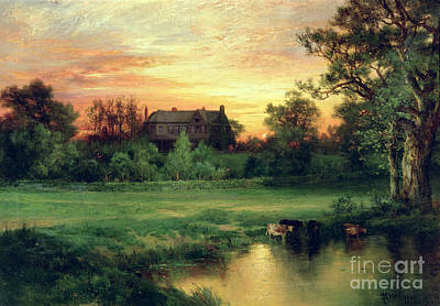 Farmhouse Painting - Easthampton by Thomas Moran