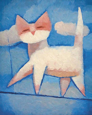 Of Cat Painting - Easy Going by Lutz Baar