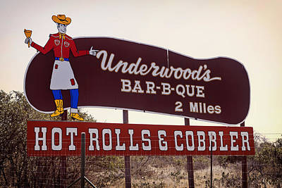 Eat At Underwood's Bar-b-que Print by Mountain Dreams