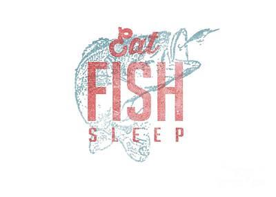Bass Fishing Drawing - Eat Fish Sleep Tee by Edward Fielding