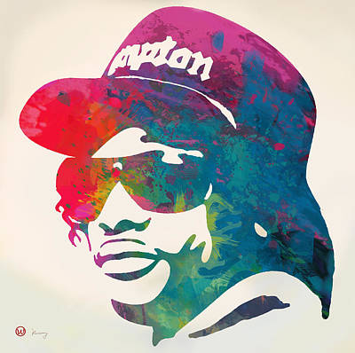 Charcoal Mixed Media - Eazy-e Pop  Stylised Pop Art Poster by Kim Wang