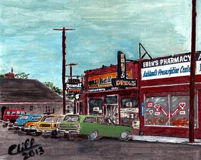 Pharmacy Painting - Eber's Pharmacy by Cliff Wilson