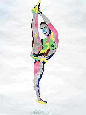 Exotic Painting - Ebony Nude Standing Splits by Stormm Bradshaw