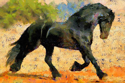 Ebony The Horse - Abstract Expressionism Print by Georgiana Romanovna