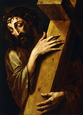 The Wooden Cross Painting - Ecce Homo by Michiel Coxie