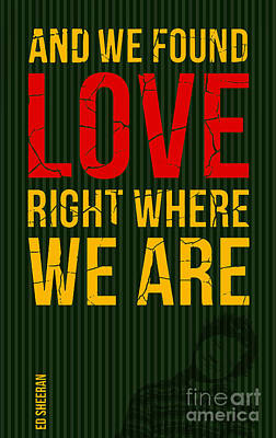 Musicos Digital Art - Ed Sheeran - Love by Pablo Franchi