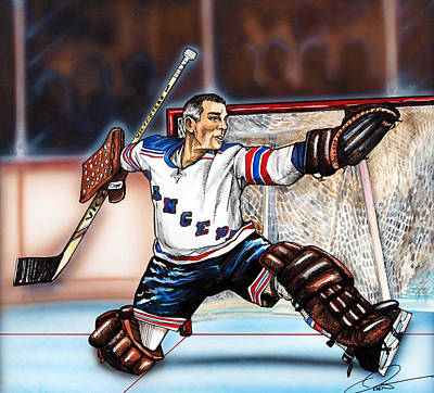 Hockey Drawing - Eddie Giacomin by Dave Olsen